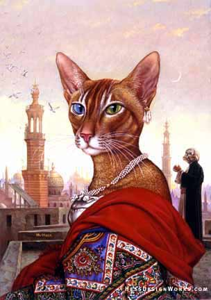 Exotic cat feline fantasy art Stock Image