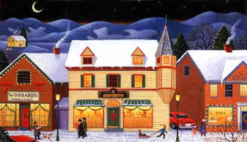snow town rural winter store stock illustration