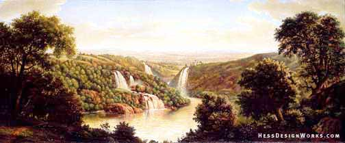 Waterfall water landscape painting stock illustration